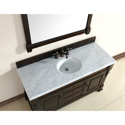 Bedrock 60 Single Burnished Mahogany Bathroom Vanity Set with Drawers Top Finish: Galala Beige, Base Finish: Black