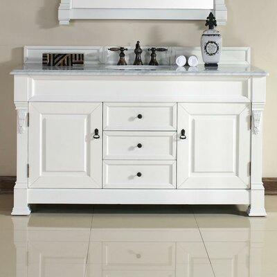 Bedrock 60 Single Cottage White Bathroom Vanity Set with Drawers Top Finish: Santa Cecilia Granite Top