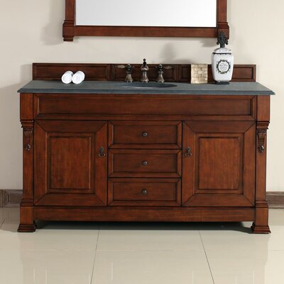 Bedrock 60 Single Warm Cherry Bathroom Vanity Set with Drawers Top Finish: Absolute Black Rustic Granite Top