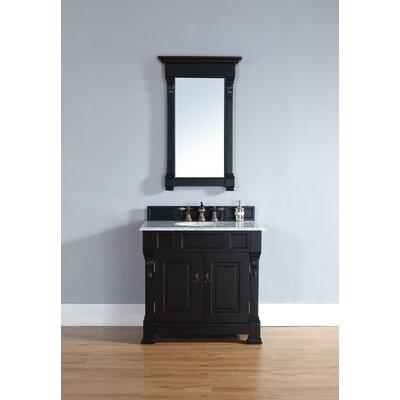 Bedrock 36 Single Antique Black Bathroom Vanity Set Top Finish: Carrera White Marble Top