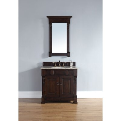 Bedrock 36 Single Burnished Mahogany Bathroom Vanity Set Top Finish: Galala Beige Marble Top