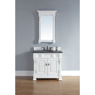 Bedrock 36 Single Cottage White Bathroom Vanity Set Top Finish: Carrera White Marble Top