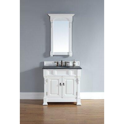Bedrock 36 Single Cottage White Bathroom Vanity Set Top Finish: Galala Beige Marble Top