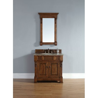 Bedrock 36 Single Country Oak Bathroom Vanity Set Top Finish: Carrera White Marble Top