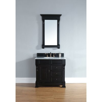 Bedrock 36 Single Bathroom Vanity Set with Drawers Top Finish: Galala Beige Marble Top, Base Finish: Black