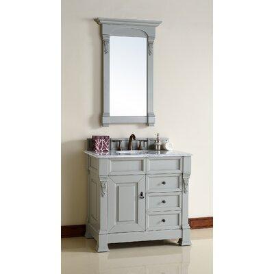 Bedrock 36 Single Bathroom Vanity Set with Drawers Top Finish: Carrera White Marble Top, Base Finish: Urban Gray