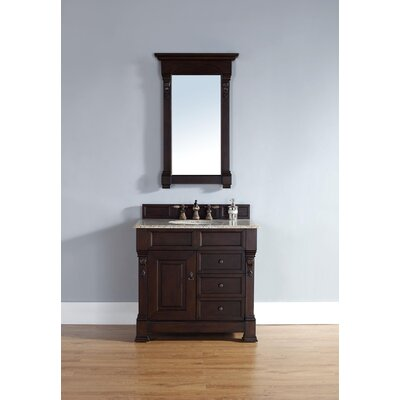 Bedrock 36 Single Burnished Mahogany Bathroom Vanity Set with Drawers Top Finish: Galala Beige Marble Top