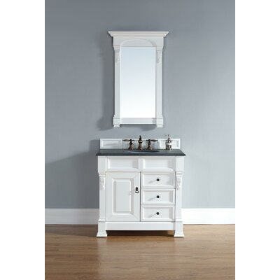 Bedrock 36 Single Cottage White Bathroom Vanity Set with Drawers Top Finish: Galala Beige Marble Top