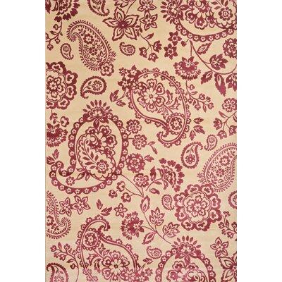 Beecroft Ivory/Raspberry Area Rug Rug Size: 53 x 76