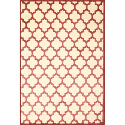 Beecroft Cranberry & Ivory Trellis Area Rug Rug Size: 53 x 76