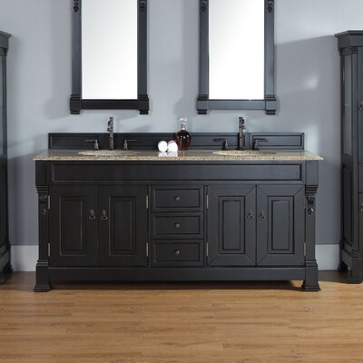 Bedrock 72 Double Bathroom Vanity Base Base Finish: Antique Black