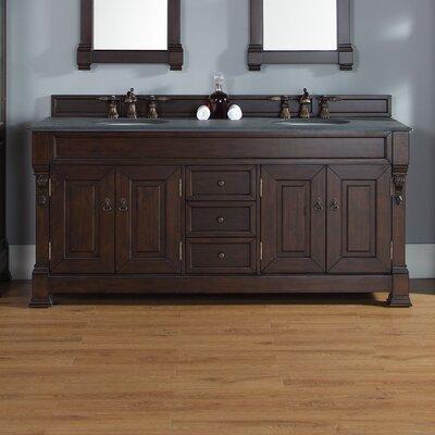 Bedrock 72 Double Bathroom Vanity Base Base Finish: Burnished Mahogany
