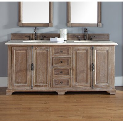 Belhaven 72 Double Driftwood Bathroom Vanity Set Top Finish: Galala Beige Marble Top