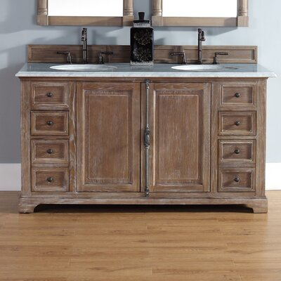 Belhaven 60 Double Driftwood Bathroom Vanity Set Top Finish: Absolute Black Rustic Granite Top