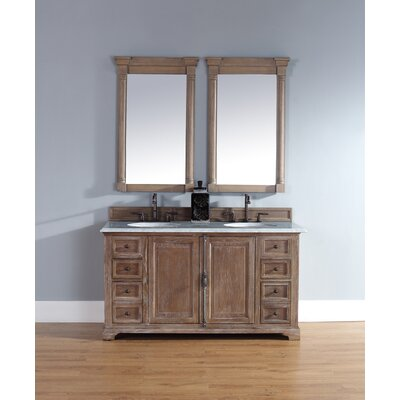 Belhaven 60 Double Driftwood Bathroom Vanity Set Top Finish: Carrera White Marble Top