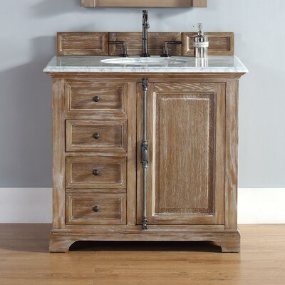 Belhaven 36 Single Driftwood Bathroom Vanity Set Top Finish: Carrera White Marble Top