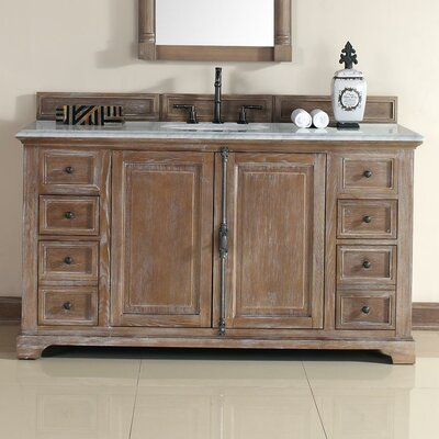 Belhaven 60 Single Driftwood Bathroom Vanity Set Top Finish: Carrera White Marble Top