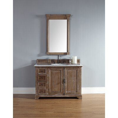 Belhaven 48 Single Driftwood Bathroom Vanity Set Top Finish: Carrera White Marble Top