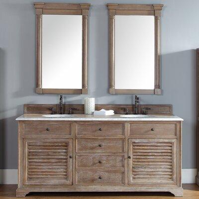 Belfield 72 Double Driftwood Bathroom Vanity Set Top Finish: Carrera White Marble Top