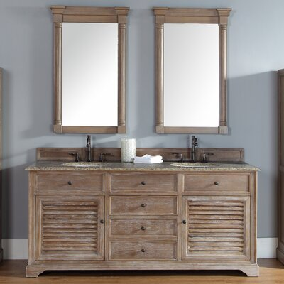 Belfield 72 Double Driftwood Bathroom Vanity Set Top Finish: Santa Cecilia Granite Top