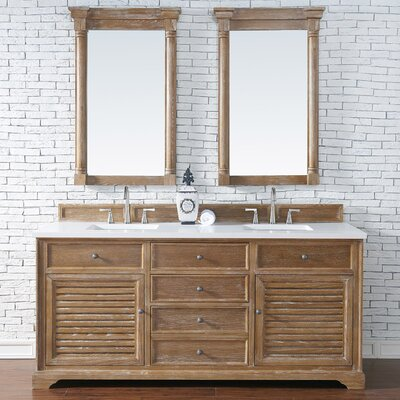 Belfield 72 Double Driftwood Bathroom Vanity Set Top Finish: White Quartz