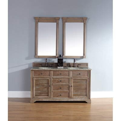 Belfield 60 Double Driftwood Bathroom Vanity Set Top Finish: Santa Cecilia Granite Top