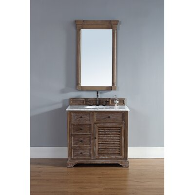 Belfield 36 Single Driftwood Bathroom Vanity Set Top Finish: Carrera White Marble Top