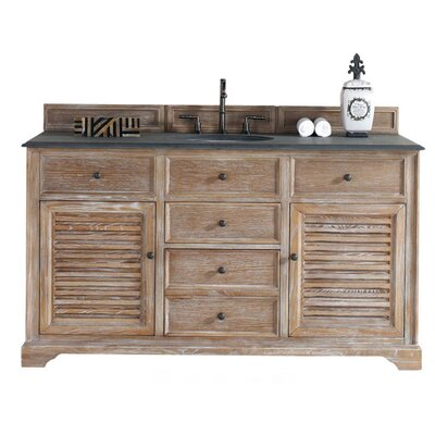 Belfield 60 Single Driftwood Bathroom Vanity Set Top Finish: Absolute Black Rustic Granite Top