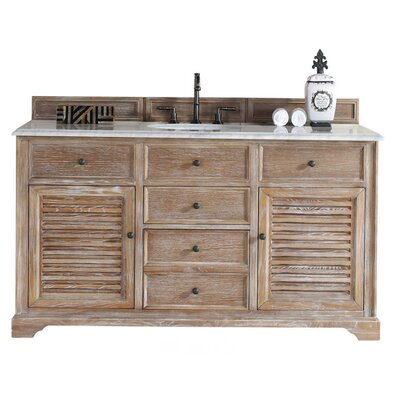 Belfield 60 Single Driftwood Bathroom Vanity Set Top Finish: Carrera White Marble Top