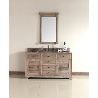Belfield 60 Single Driftwood Bathroom Vanity Set Top Finish: Santa Cecilia Granite Top