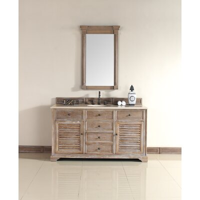 Belfield 60 Single Driftwood Bathroom Vanity Set Top Finish: Galala Beige Marble Top