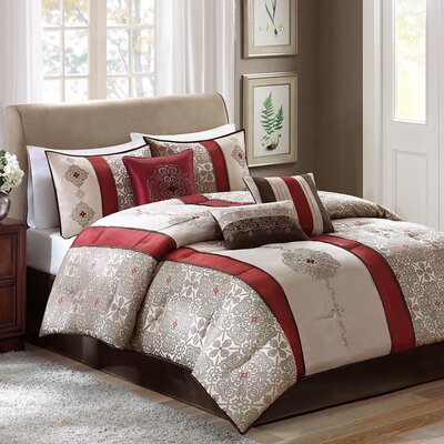 Elise 7 Piece Comforter Set Size: Queen, Color: Red