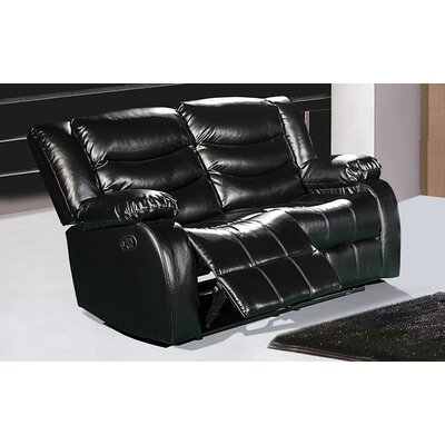 Phoenixville Reclining Loveseat Upholstery: Black