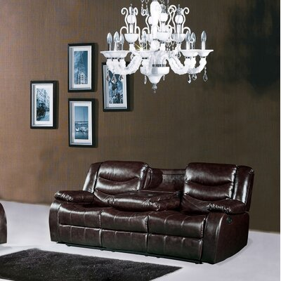 Phoenixville Leather Reclining Sofa Upholstery: Brown