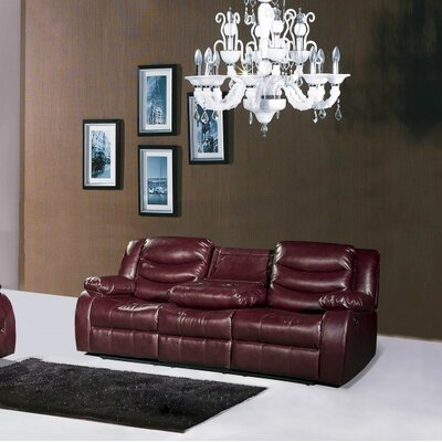 Phoenixville Reclining Leather Sofa Upholstery: Burgundy