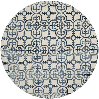 Kinzer Hand-Tufted Ivory/Navy Area Rug Rug Size: Round 7 x 7