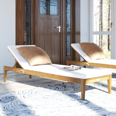 Crumpton Chaise Lounge Finish: Teak Brown/Beige