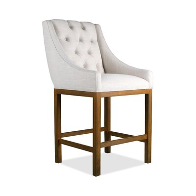 Haley 26 inch Bar Stool Upholstery: Charcoal, Finish: Cognac