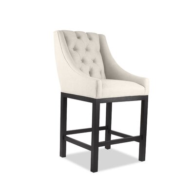 Haley 30 inch Bar Stool Upholstery: Sand, Finish: Dark Gray
