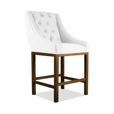 Haley 30 inch Bar Stool Upholstery: Grey, Finish: Cognac