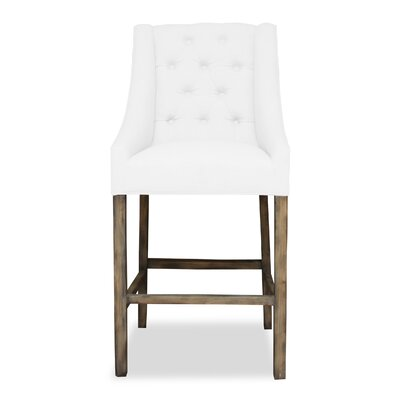 Haley 30 Bar Stool Upholstery: White, Finish: Dark Gray