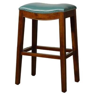 Lilly 31 Bar Stool Finish: Brown, Upholstery: Turquoise