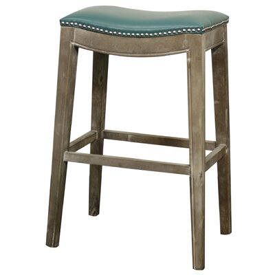 Lilly 31 Bar Stool Upholstery: Turquoise, Finish: Mystique Gray