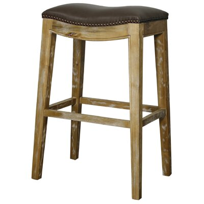 Lilly 31 inch Bar Stool Finish: Weathered Smoke, Upholstery: Vintage Dark Brown