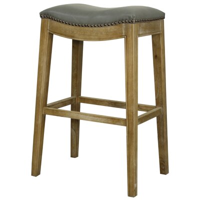 Lilly 31 Bar Stool Finish: Weathered Smoke, Upholstery: Vintage Gray