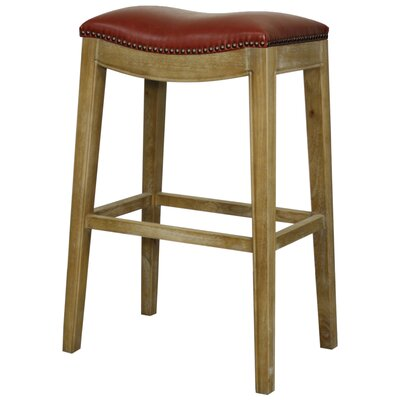 Lilly 31 Bar Stool Finish: Weathered Smoke, Upholstery: Vintage Red