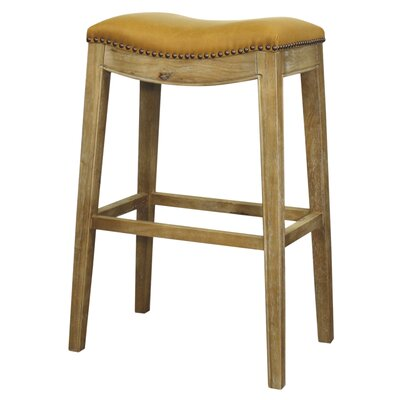 Lilly 31 Bar Stool Finish: Weathered Smoke, Upholstery: Vintage Caramel