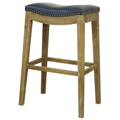 Lilly 31 Bar Stool Finish: Weathered Smoke, Upholstery: Vintage Blue