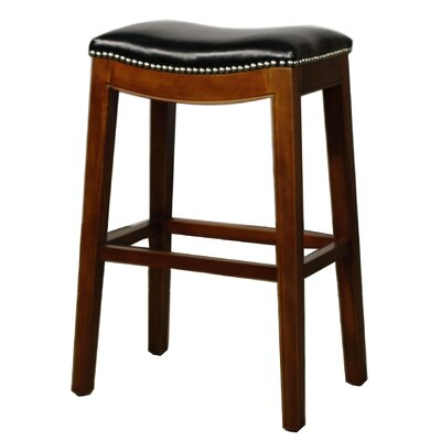 Lilly 31 Bar Stool Finish: Brown, Upholstery: Black