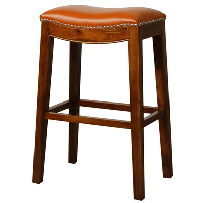 Lilly 31 Bar Stool Finish: Brown, Upholstery: Pumpkin